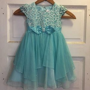 Two Formal Turquoise Dresses 3T and 4T
